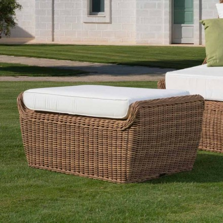 Pouf Outdoor Bench in Woven Synthetic Rattan Luxury Design - Yves