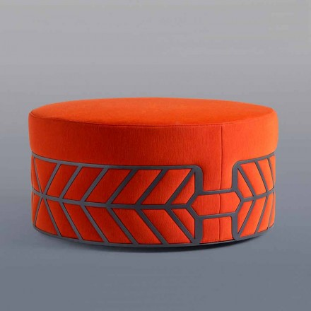 Pouf Footrest of Modern Design Colored Round with Ring - Belte