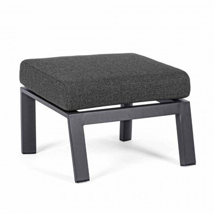 Pouf Footrest in Removable Fabric and Painted Aluminum - Nathy