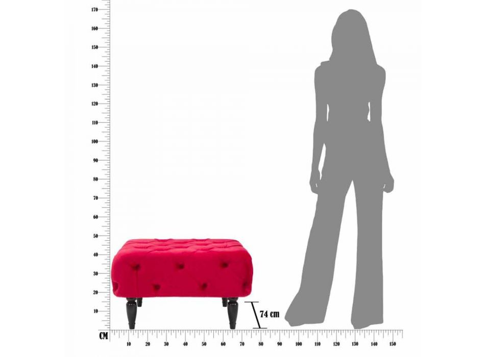 Modern Design Burgundy Square Pouf in MDF and Fabric - Halena