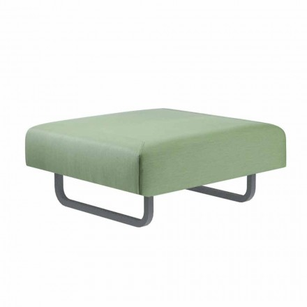 Square Outdoor Design Pouf in Metal and Fabric Made in Italy - Selia