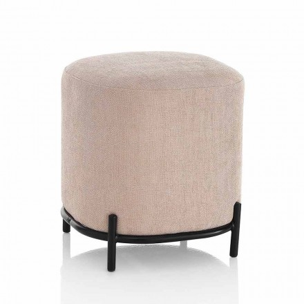 Modern Square Pouf Upholstered and Covered in Powder Pink Fabric - Pocus