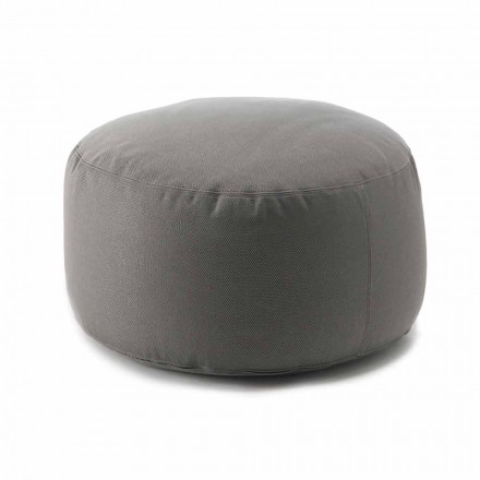 Modern Round Pouf for Living Room in Colored Fabric for Indoor or Outdoor - Naemi