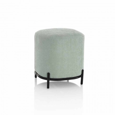 Round Pouf for Living Room in Green or Gray Fabric Modern Design - Ambrogia