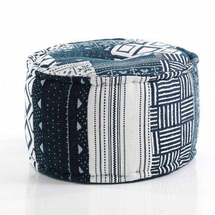 Round Pouf of Ethnic Design in Patchwork Fabric or Velvet - Fiber