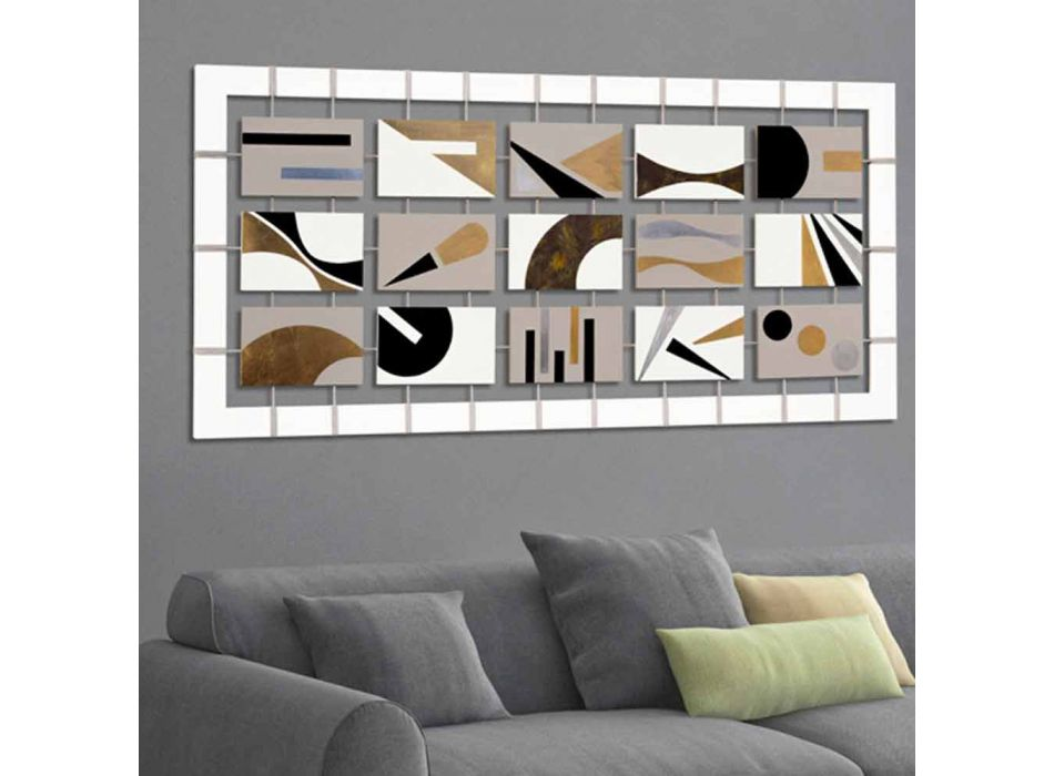 abstract painting with fifteen panels suspended on ropes Craig