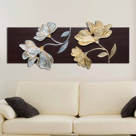 Floral painting Herman, decorated with gold and silver leaf