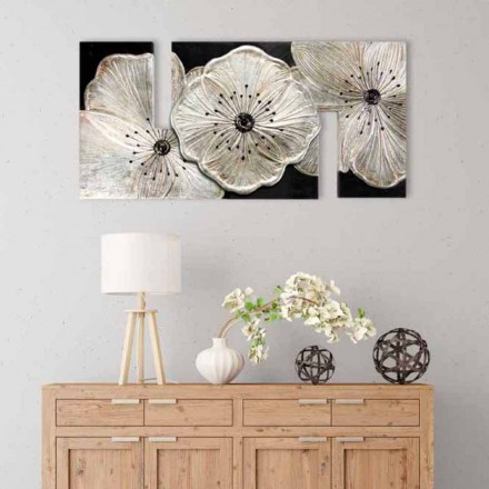 Small Painting Petunia Argento by Viadurini Decor, made in Italy