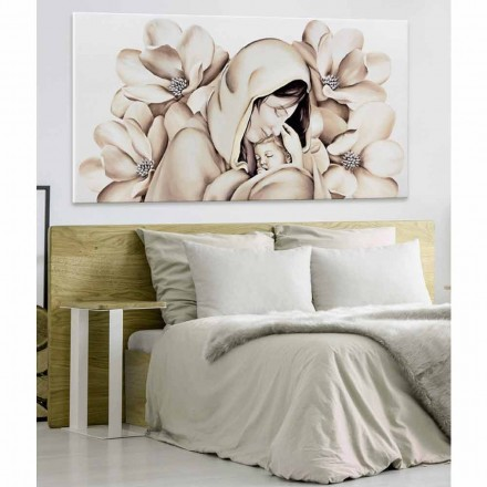 Mother and child embossed painting on canvas Sole, modern design