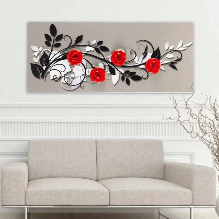 Painting Le quattro rose by Viadurini Decor, made in Italy