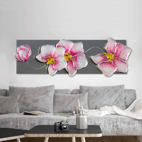 Modern painting with handmade flowers on Dustin anthracite structure