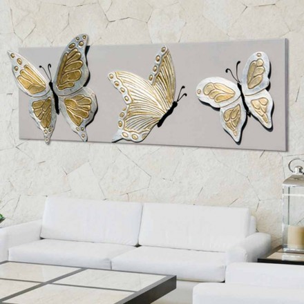 Modern painting with 3 embossed butterflies Stephen