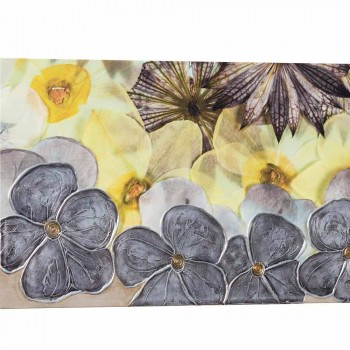 Modern floral painting with hand-decorated Ramos petals