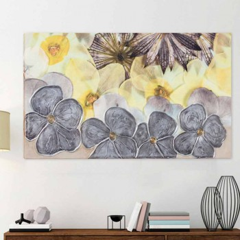 Modern floral painting with textural petals decorated by hand Ramos