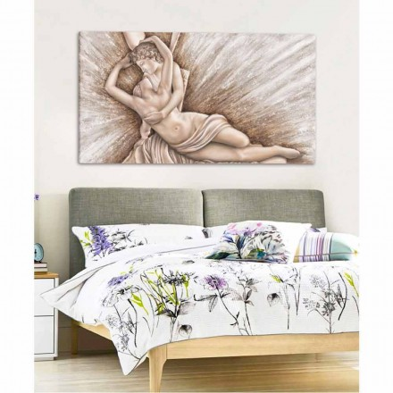 Psyche Revived by Cupid's Kiss painting on canvas Aurora made in Italy