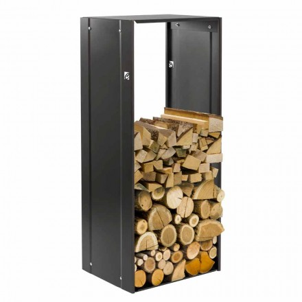Caf Design Rettangolo Nero 75 indoor steel firewood holder