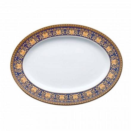Rosenthal Versace Medusa Blue modern design oval porcelain plate