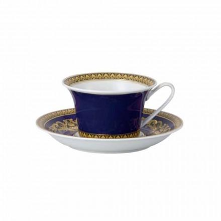 Rosenthal Versace Medusa Blue modern porcelain tea mug, luxury design