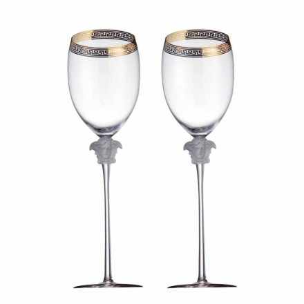 Rosenthal Versace Medusa D'Or set of 4 luxury crystal water goblets
