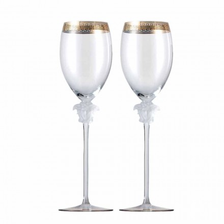 Rosenthal Versace Medusa D'Or set of 4 white wine crystal glasses