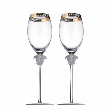 Rosenthal Versace Medusa D'Or set of 4 red wine crystal glasses