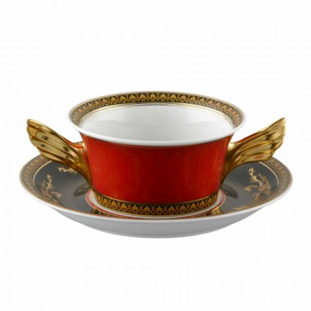 Rosenthal Versace Medusa Rosso porcelain creamsoup cup and saucer