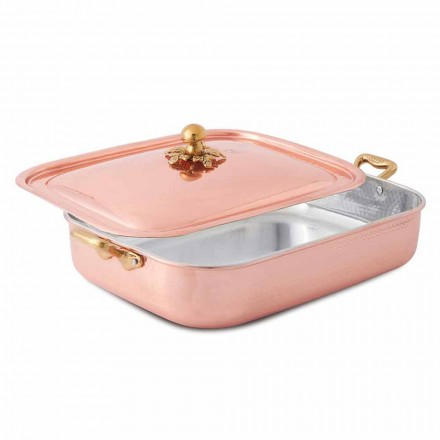 Roaster and Rectangular Lid in Hand Tinned Copper 32x24 cm - Mariateresa