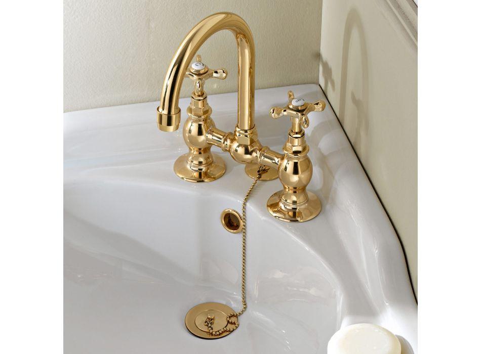 Bridge Taps for Washbasin in Classic Handcrafted Brass - Fioretta