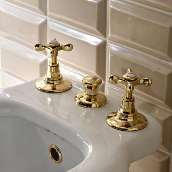 3-Hole Bidet Faucet Internal Delivery in Brass Handmade - Fioretta