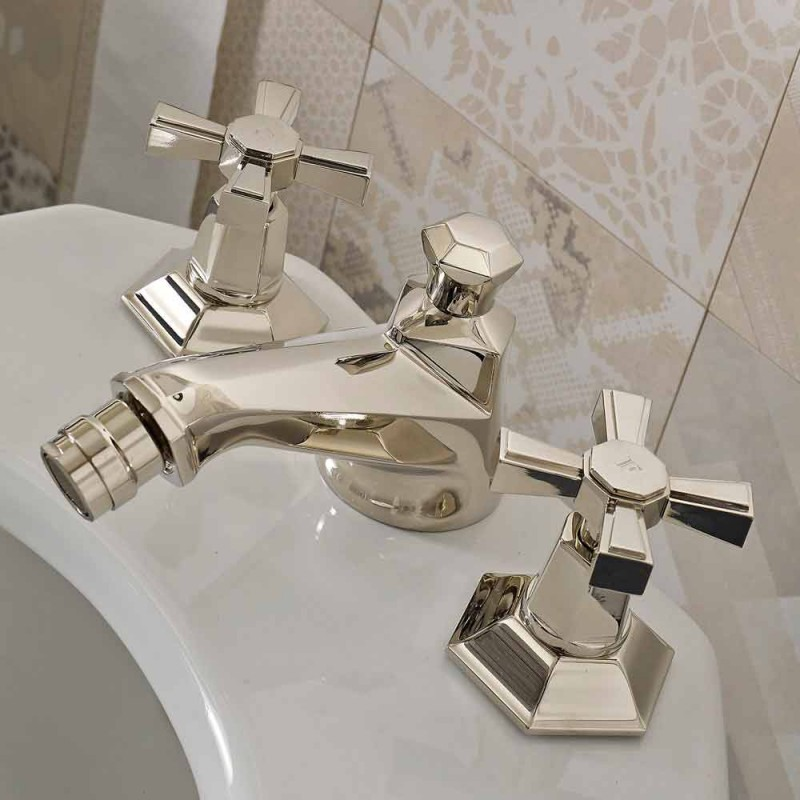 Design 3-Hole Bidet Taps in Brass Vintage Style Made in Italy - Silvana