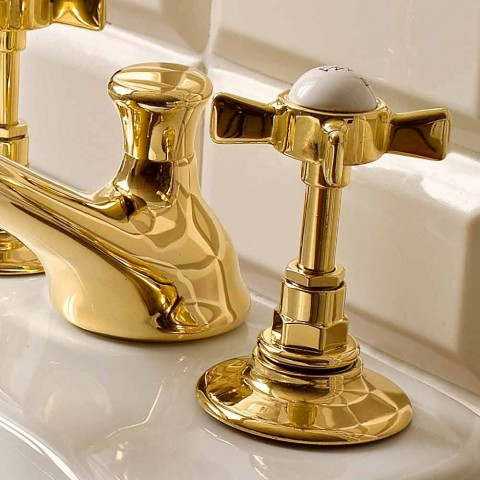 Classic Brass 3-Hole Bidet Taps Made in Italy - Katerina