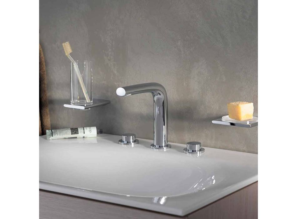 Modern Design Mixer for Basin with 3 Metal Holes Height 15 cm - Pinto