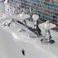 3-Hole Basin Faucet in Brass and Ceramic Made in Italy - Ernesta