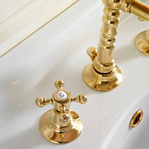 Vintage Design 3-Hole Brass Basin Faucet Made in Italy - Ursula