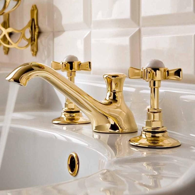3-Hole Brass Basin Faucet, Vintage Style, Made in Italy - Katerina