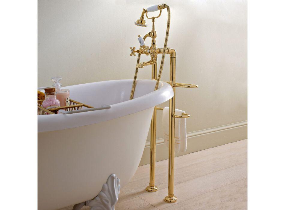 Classic Floor Bathtub Faucet in Brass with Hand Shower - Fioretta