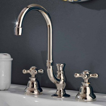 Brass Bathroom Basin Faucet 3 Holes High Spout with Drain - Ercolina
