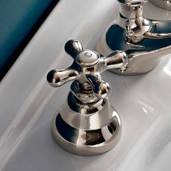 Brass Bathroom Basin Faucet 3 Holes Classic Handcrafted Drain - Ercolina