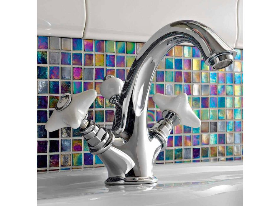 Brass Single Hole Basin Faucet and Handcrafted Ceramic Handles - Ernesta