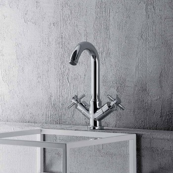 Adjustable Single-Hole Tap with Chrome Brass Drain Made in Italy - Zumbo
