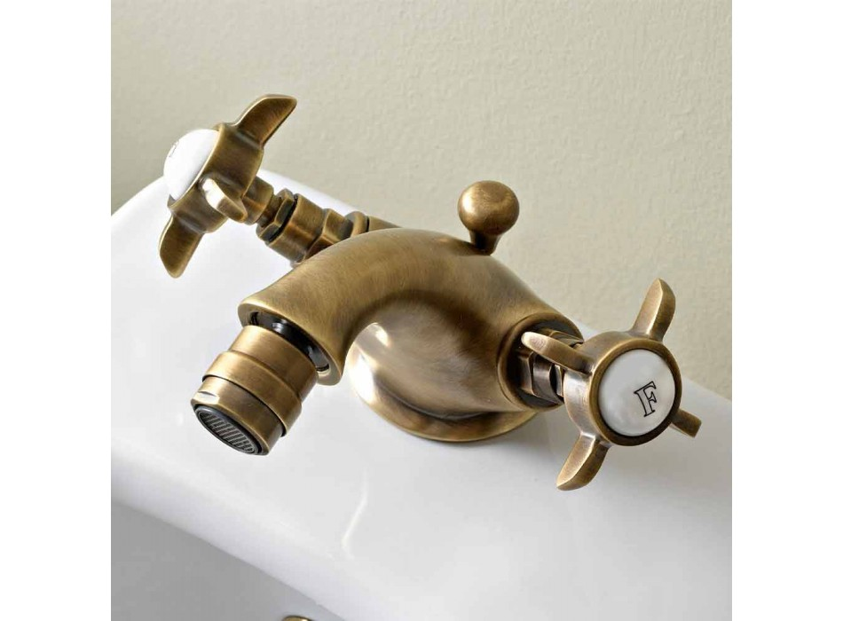 Classic Brass Single Hole Faucet for Bidet and Butterfly Handles - Miriano