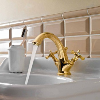 Brass Single Hole Basin Faucet Classic Butterfly Handles - Fioretta