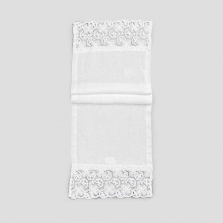 2 Table Runner 100% Linen with Luxury White Lace Made in Italy - Trionfo