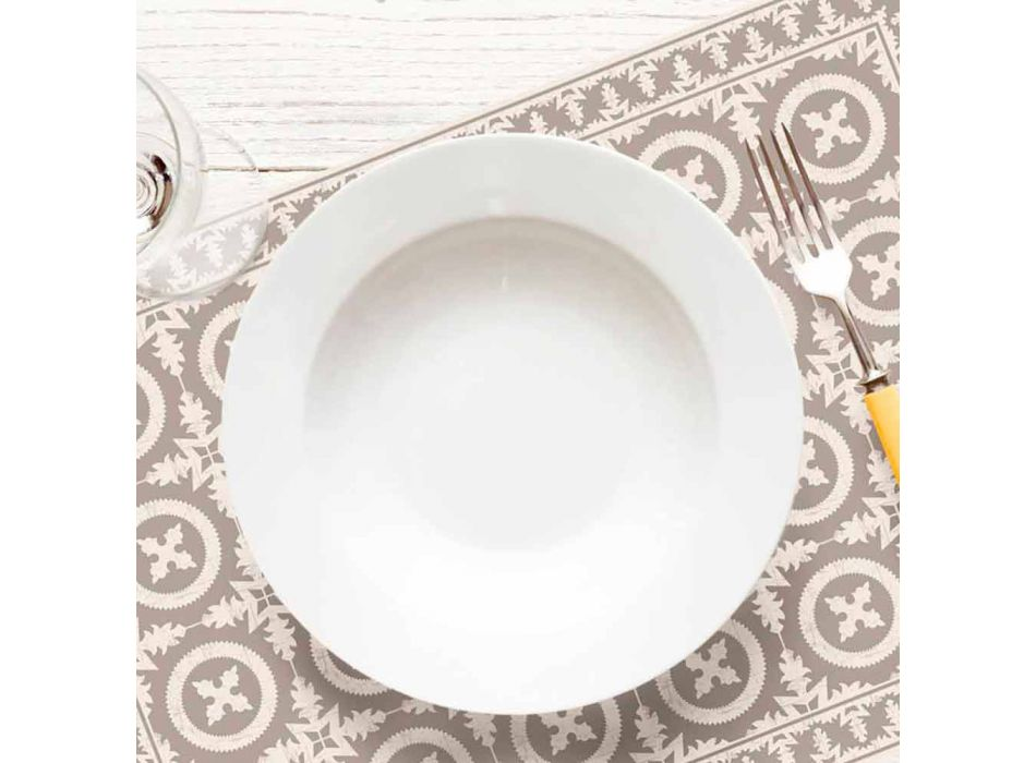 Beige or Blue Patterned Table Runner in Pvc and Modern Polyester - Bondo