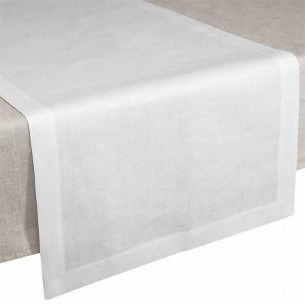Table Runner in Cream White Linen 50x150 cm Made in Italy - Poppy
