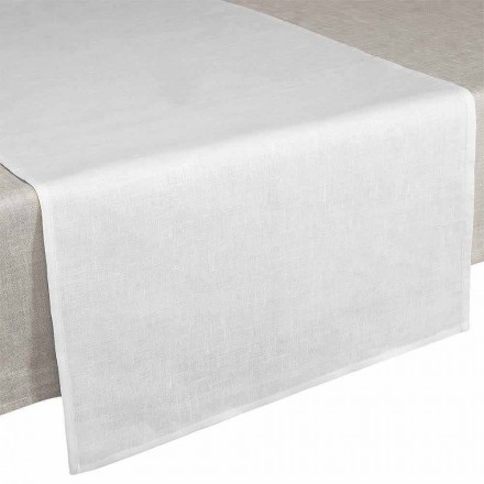 Table Runner 50x150 cm in Cream White Pure Linen Made in Italy - Blessy