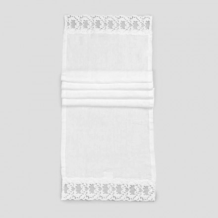 Linen Table Runner with White Lace, Italian Luxury Quality - Farnese