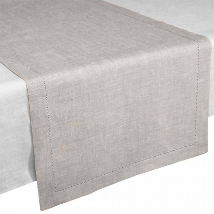 Table Runner in Pure Linen Natural Color Made in Italy - Chiana