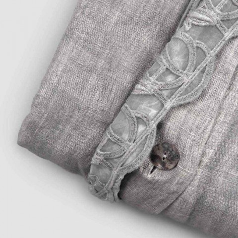 Container Bag Linen Duvet Cover with Synergy Lace and Buttons - Energis
