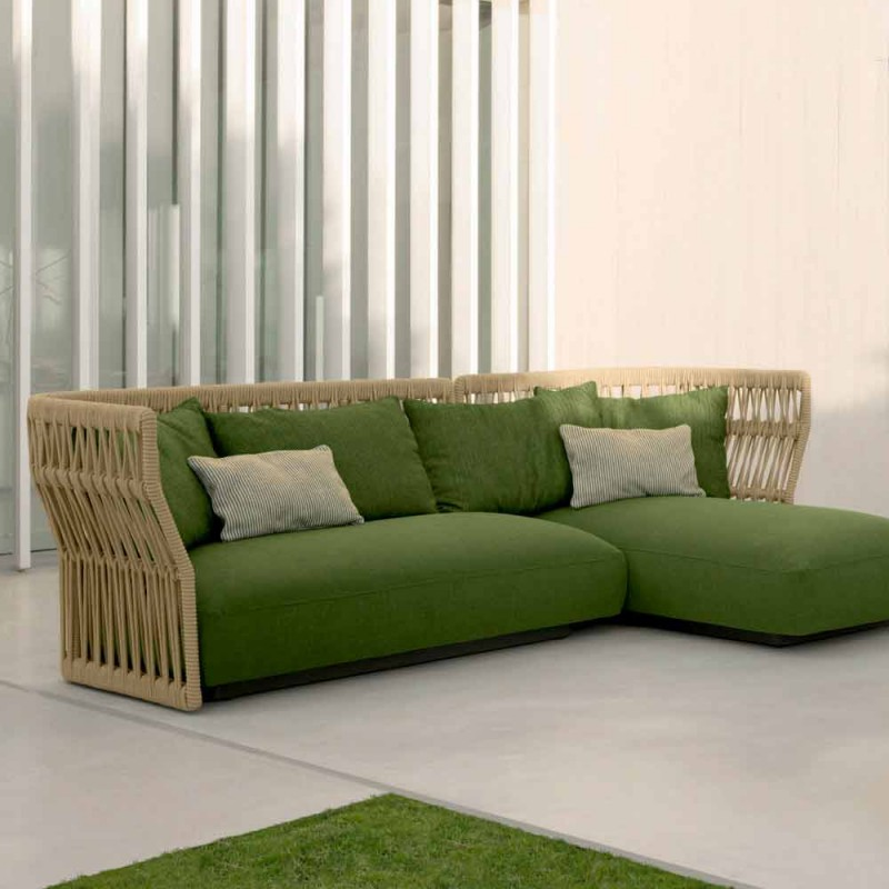 Cliff Talenti outdoor lounge with sofa and coffee tables, design Palomba